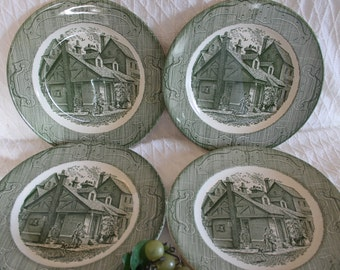 "Set of 4 Royal China 10"" Dinner Plates - The Old Curiosity Shop, Green"
