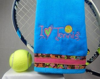 Turquoise and Hot Pink Tennis Towel