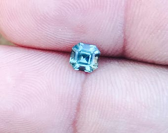 Natural Teal Green Sapphire Asscher Cut 5mm