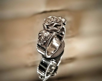 Sterling Silver Rose Ring - Sterling Silver Ring - Rose Ring - Silver Rose Ring - Silver Flower Ring - Flower Ring - Silver Rose