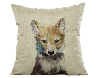 """Cute Fox Cushion Cover 18"""" by 18"""" Made To Order UK"""