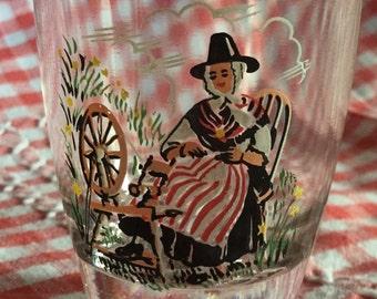 Three vintage Welsh Lady Shot glasses