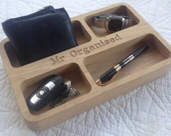 Solid Oak personalised engraved organiser
