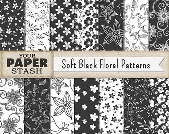 Black Floral Digital Paper, Flower Scrapbook Paper, Soft Black, Iron Gray, Backgrounds, Daisy, Leaves, Wedding Scrapbooking Page, Commercial