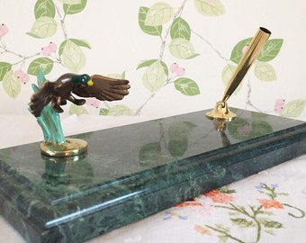 Vintage French Desk Pen Stand, Mid-Century Vintage Green Marble Pen Stand, Marble Pen Stand,Man Cave.