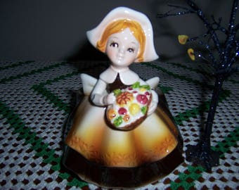Vintage Pilgrim Girl Planter,  Relpo, Thanksgiving Planter, 1960's