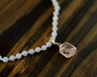 Angelite & Herkimer Diamond necklace