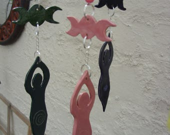 Hand Crafted Moon Goddess Triple Moon Wicca Wiccan Hanging Decoration