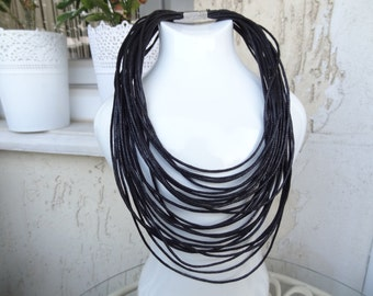 EXPRESS SHIPPING,Multi Strand Necklace, Statement Jewelry, Black Leather Look Rope,Cord Necklace,String Necklace,Bip Jewelry,Mother's Day