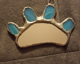 Paw print stained glass mirror