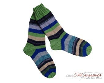 Size 38-39 socks hand-knitted unique! Striped socks straped woolsocks knitted stockings