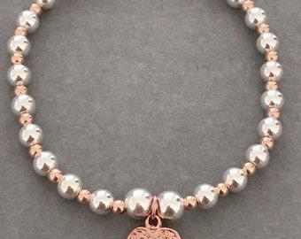 Sterling Silver & Rose Gold Angel Wing Charm Bracelet