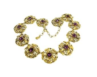 Vintage 1980s Necklace | Rhinestone Necklace | Purple Necklace | Gold Tone Necklace | Statement Necklace | Collar Necklace