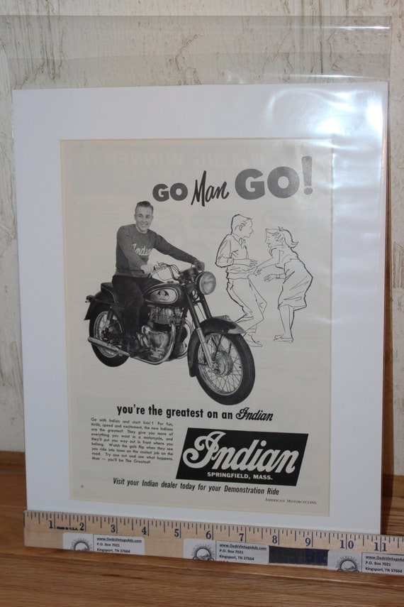 "1958 Indian Motorcycle ""Go Man Go!"" 11'' x 14'' Matted Vintage Motorcycle Ad Art #5805amot10m"