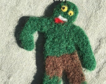 Needle Felted Zombie Ornament, Needle Felted Zombie Decoration, Needle Felted Zombie