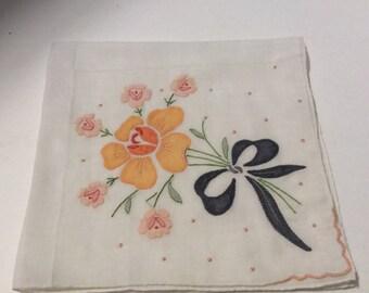 Vintage handkerchief, handkerchief, vintage hanky, floral handkerchief