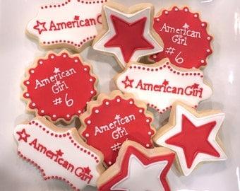 One Dozen Assorted American Girl Doll logo Cookies - Decorated Shortbread Cookies -