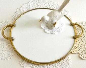 vintage milk glass platter vanity tray round white tray
