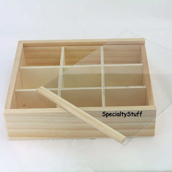 New 9 Compartment Wood Tray W Clear Plastic Sliding Top