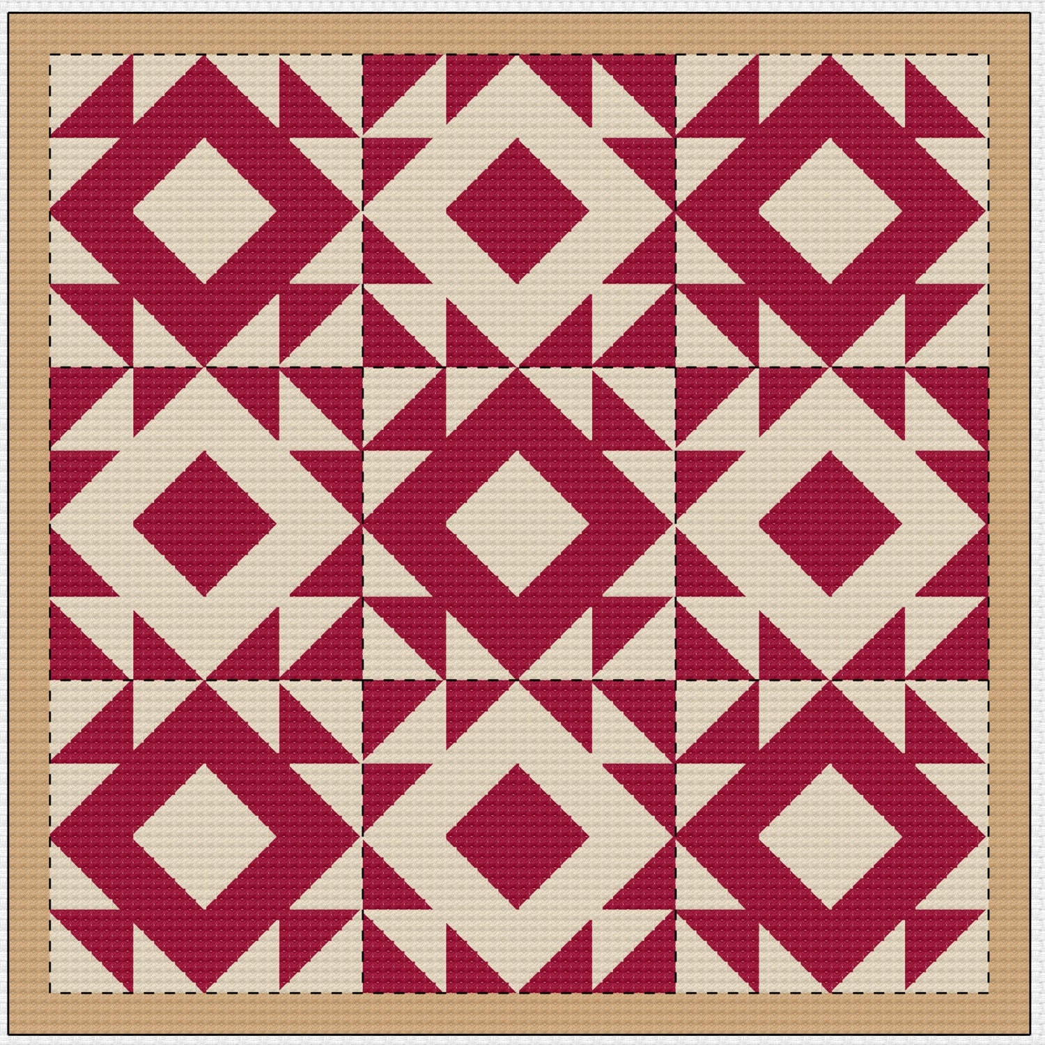 Quilt Patterns Cross Stitch : Cross Stitch Pattern Quilt Block Mosaic Old Red