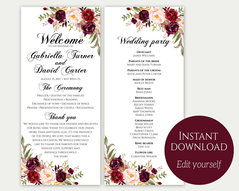 wedding ceremony itinerary template - wedding program template ceremony template wedding program