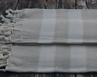 "Turkish Towel,Cream Towel,Linen Soft Towel,Spa Towel,Peshtemal,Organic Towel,Turkish Peshtemal,Bath Peshtemal,Beach Peshtemal,35""x70"""
