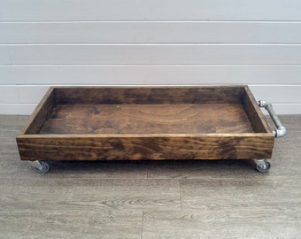 Industrial Wood Boot Tray - Industrial Shoe Tray - Shoe Storage - Rolling Boot Tray