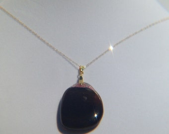 Dark Brown and Pink Agate Pendant on 14k gold filed chain necklace