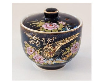 Vintage Asian Ceramic Incense Bowl and Lid, Navy with Gold Pheasants and Pink Peonies