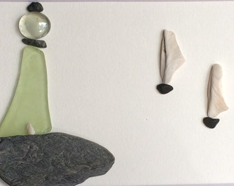 SALE: Pebble Art, 2 picture set, Lighthouse Series, Shell Sails, Purple, Green, 2 picture set