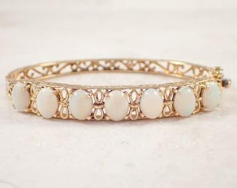 14K Yellow Opal Bangle Bracelet