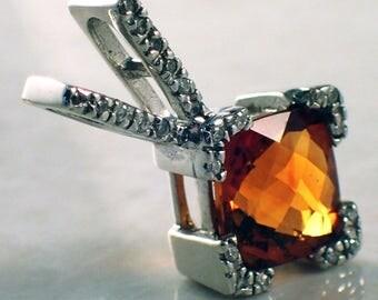 14k White Gold Garnet and Diamond Pendant