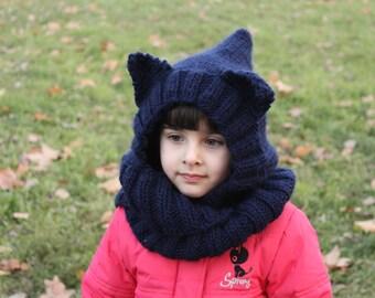 Hooded hat scarf Cat hat Ear hat Cowl set Cat cowl set Winter set Infinity scarf Long shawl Hat scarf hat Children hat Knit hat Chrismas