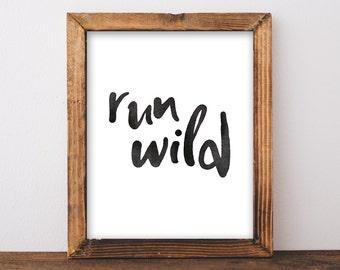 Run Wild - Playroom Wall Art - Adventure Kids - Outdoor Playroom - Outdoor Nursery - Mountain Nursery - Adventure - Instant Download 8x10