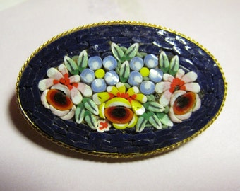 Italian Micro Mosaic Oval Brooch Pin