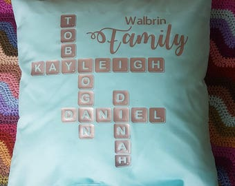 Family scrabble pillow