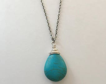 Silver Wire Wrap Pendant, Turquoise Color Howlite Pendant, Gifts for Her, Simple Pendant Necklace, Something Blue, Bridesmaid Gift,