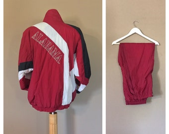 90s Alabama Windbreaker Suit /Alabama College Football/ Windbreaker Suit /Crimson Tide Vintage /alabama football shirt /Alabama Crimson Tide