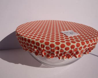 Cover Bowl with coral polka dots - covered Bowl to store food - covered Bowl - cover for plates - Zero waste
