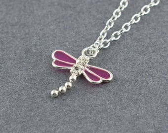 Petite Purple Dragonfly Charm Necklace, Sterling Silver Necklace