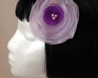 Lilac and Purple Flower Hair Clip/Brooch