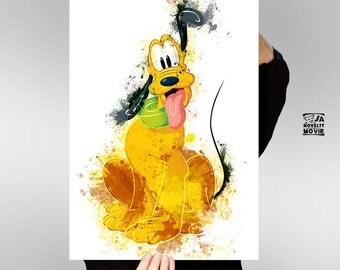 Pluto, Mickey Mouse's pet, Disney caracter, Pluto watercolor art, Pluto wall decor, Nursery art, Kids room wall art, Large printable
