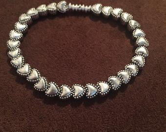 Silver heart handmade bracelet