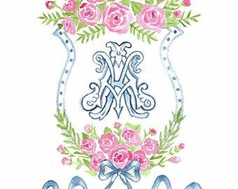 Custom Monogram Crest Painting