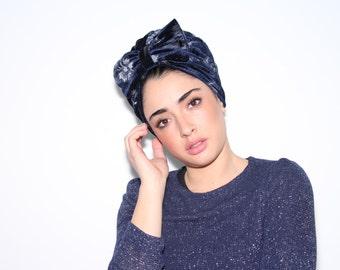 turbante, velvet turban, blue turban, bow turan, blue velvet  turban ,turban hat, Chemo hat, women's turban, modern hijab,fashion hair wrap