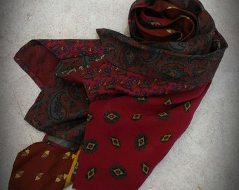Restyle scarf made from vintage ties 80s and 90s red and burgundy colour