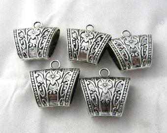 5 Antique Silver Trapezium Floral Scarf Bails (s9e)