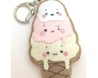 Felt Ice Cream Keychain | Handmade Felt Accessory | Kawaii Felt Ice Cream Charm