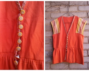 Orange Dream Sleeveless Summer Shirt Button Up