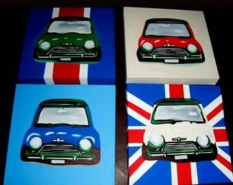 "Mini cars handpainted canvas wall art set of 4 paintings each canvas 10 x 10"" (25 x 25cm)"